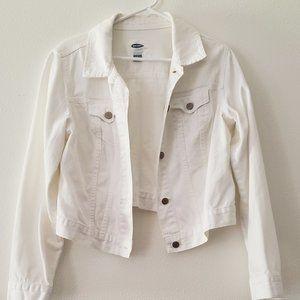 Old Navy White Denim Jacket (Large)